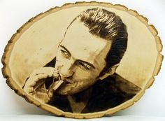 Joe Strummer Pyrography. #pyrography #woodburning #kreepykentucky #folkart…