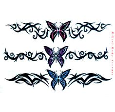 barb wire cross tattoo design | Three barb wire butterfly tattoos for the back or anywhere else. Just ...