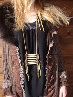 Golden Warrior Fringed Necklace with Antique Bone by KissingRavens, $128.00