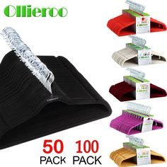 Ollieroo 50/100 Velvet Non-Slip Thin Clothes Clothing Hanger Space Save Closet | Home & Garden, Household Supplies & Cleaning, Home Organization | eBay!