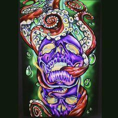 Poster per day variant Octo skull. From one of my tattoos @rockstarbarbie01 #jdanger #jamesdangerharvey #jamesdangerart