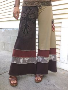 Patchwork Eco Gaucho PANTS Size S/M  eco by zasra on Etsy, $95.00