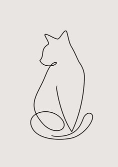 One Line Kitty Clear Acrylic Organizer/serving Tray by Amy Roberts - Medium 15 x One Line Animals, Outline Art, Minimalist Drawing, Abstract Line Art, Cat Stickers, Amy Roberts, Cat Tattoo, Grafik Design, Jewelry Organization