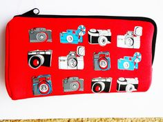 CAMERA pencil case cool kitsch PHOTOGRAPHY zip bag brand new by KITSCHRETRO on Etsy