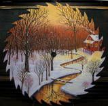 Photo by Mary Charles Painted Slate, Painted Rocks, Hand Painted, Tole Painting, Painting On Wood, Painted Milk Cans, Silhouette Painting, Winter Painting, Metal Wall Sculpture