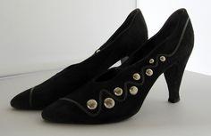 Sale: Black Suede Vintage Heel by Claude Montana for Stephane Kelian. $ 20.00