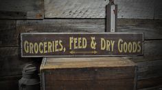 Groceries, Feed & Dry Goods Sign - Rustic Hand Made Vintage Wood Sign ENS1000444 #TheLiztonSignShop #RusticPrimitive