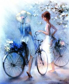 Kai Fine Art is an art website, shows painting and illustration works all over the world. Images D'art, Bicycle Art, Bicycle Painting, Bicycle Design, Beautiful Paintings, Female Art, Art Pictures, Painting & Drawing, Amazing Art