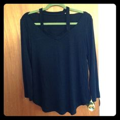 Open sky black l/s top size MD Black long sleeve top with strap detail at top size MD from Open Sky. New without tags. Never been worn. Tops