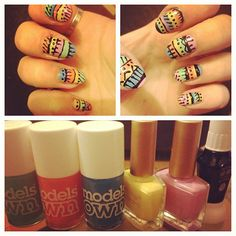 Tribal nails! I used a variety of bright colours in various sized horizontal strips, and added funky details with a black nail art pen.