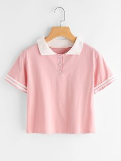 ROMWE Contrast Lapel Stripe Sleeve Casual Tee Summer Woman T shirt Top Pink Lapel Short Sleeve Womens T-shirts Indian Fashion Dresses, Girls Fashion Clothes, Teen Fashion Outfits, Outfits For Teens, Girl Fashion, Cute Girl Outfits, Cute Casual Outfits, Crop Top Outfits, Kawaii Clothes
