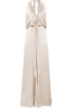 Plunge-front silk-satin gown by Chloé