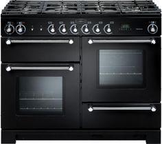 £1519 RANGEMASTER Kitchener 110 Dual Fuel Range Cooker - Black & Chrome