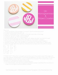 Monogram Coaster Template by For Chic Sake