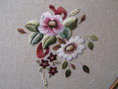 Threads and patches: Symphony cushion...embroidery finished