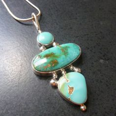 Nevada Turquoise MultiStone Pendant by @metaldreamer on Etsy, $122.00