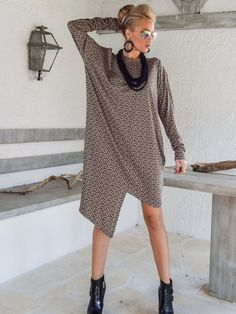 Winter Warm Dress Tunic / Asymmetric Plus Size by SynthiaCouture