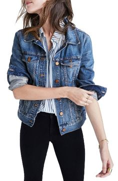 Free shipping and returns on Madewell Cotton Denim Jacket (Pinter Wash) at Nordstrom.com. Crafted from softly distressed cotton denim, this versatile jean jacket is styled with classic felled seams and glistening metallic buttons. The relaxed silhouette makes it a breeze to layer over all of your wardrobe essentials.