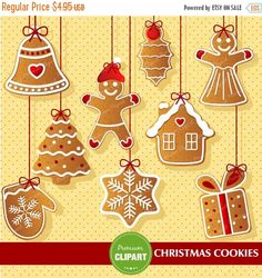 70% OFF SALE Christmas cookies clipart, Ginger man clipart, Gingerbread clipart, Christmas - CA293 by PremiumClipart on Etsy