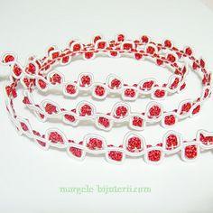 Ornament snur matase, rosu- alb, 12mm 1 m