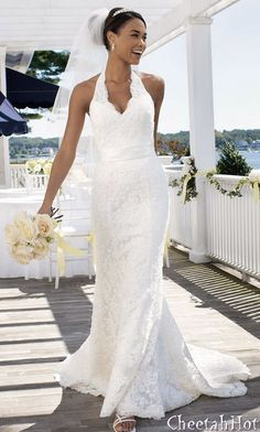 David's Bridal Gown - Allover Beaded Lace with Illusion Halter Neckline