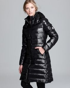 Moncler Down Mont - Moka Lacquer Quilted Mid Length - Siyah #moncler