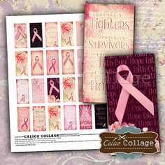 Calico Collage High Quality Digital Collage Sheets: New Breast Cancer Digital Collage Sheet