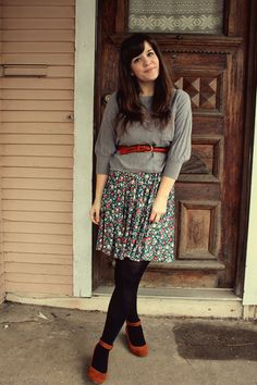 calico skirt, red ankle strap shoes, grey sweatshirt