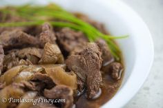Slow Cooked Beefsteak is a Filipino dish known as bistek tagalog. It is composed of thin slices of beef such as sirloin or flank steak