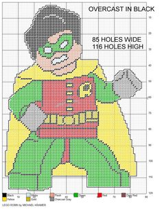 LEGO Robin plastic canvas pattern by Michael Kramer