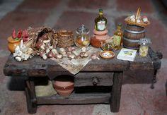 / table with Italian porcini mushrooms, olive oil, garlic and chilli-Artisan Handmade Miniature in 12th scale. From CosediunaltroMondo