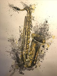 Saxophone, Aquarell, Sketch, A3, Zeichnung, Art, Kunst, Free, Artist, Jazz, Music, New Orleans Jazz Instruments, Music Drawings, Music Backgrounds, Music Tattoos, High Art, Illustrations And Posters, Beautiful Artwork, New Orleans, Art Pictures