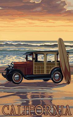 California Beach Woodie - Northwest Art Mall