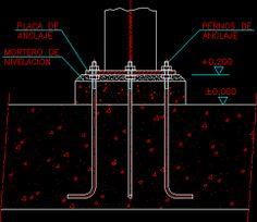 Resultado de imagen para detalle de anclaje columna metalica