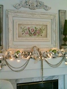 Beautiful shabby Christmas. Love the frame inside a frame. is creative inspiration for us. Get more photo about home decor related with by looking at photos gallery at the bottom of this page. We are want to say thanks if you like to share this post to another people via …