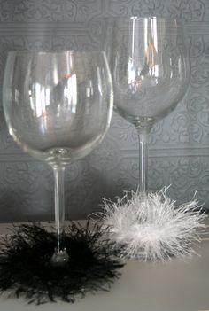 Bachelorette Wine Boas - 10 Black and 10 White - Hand Knit Bridal Shower Decorations Bachelorette Decorations. $18.00, via Etsy.
