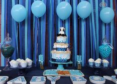 Beautiful blue baby shower party! See more party planning ideas at CatchMyParty.com!