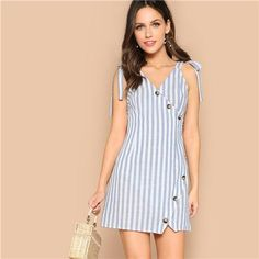 Shein Boho Blue Self Tie Shoulder Asymmetrical Placket Striped Summer Mini Dress Women Wrap Buttoned Sleeveless Sheath Dresses Casual Dresses, Fashion Dresses, Summer Dresses, Natural Clothing, Striped Fabrics, Latest Dress, Blue Fashion, Boho Dress, Ideias Fashion
