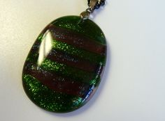 Green Fused Glass Glitter Pendant with stripes and by ArtBoxDesign, $25.00