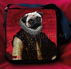 *Schicke Tragetasche / Schultertasche mit Mops-Design – Mops der Kavalier.* (27)    Mit dieser Tasche fällst Du garantiert auf. Eine schicke und strap