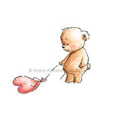 Teddy Bear with sad heart balloon- Printable  Art - Digital file - Valentine - Love bear - Love illustration - Ink and Watercolor - Greeting by AnnaAbramskaya on Etsy
