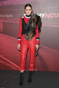 Lady in red: Olivia Palermo set pulses racing in red leather trousers, ribbed jumper and a two-toned furry stole