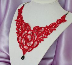 Image detail for -red fire red lace necklace in bronze from olinilaces