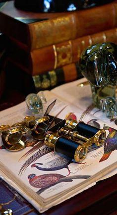 belenzotti: belenzotti (This Ivy House) Binoculars, opera glasses and beautiful bird book English Country Manor, English Style, English Countryside, British English, West Indies, British Colonial Style, Colonial Art, British Style, Ivy House