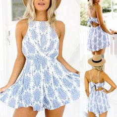 Product Description: (Free Shipping) Summer Style Blue Floral Printed Sleeveless / Backless Short Romper by PesciModa Material: Cotton,Polyester, Type: Playsuits, Style: Casual, Fit Type: Regular, Fab