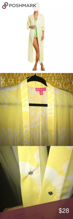 Lilly Pulitzer for Target Kimono Lilly for Target yellow kimono. I added a button and trust me it makes it so much more fun! Perfect condition! Swim Coverups