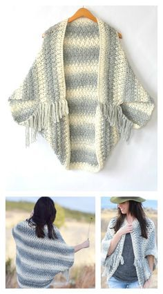 Pick up some self striping yarn and get started today to make a wonderful year round piece with Crochet Blanket Sweater Shrug Free Pattern. Crochet Baby Sweater Pattern, Baby Sweater Patterns, Easy Crochet Blanket, Easy Crochet Patterns, Crochet Cardigan, Shrug Sweater, Crochet Shawl, Cocoon Cardigan, Baby Pullover Muster