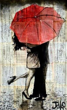 "Wishing I had someone to kiss under an umbrella haha (Loui Jover; Pen and Ink, Drawing ""the red umbrella"") Art Painting, Art Photography, Amazing Art, Painting, Art, Canvas Painting, Jover, Street Art, Beautiful Art"