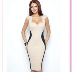 Amy Childs Marcia Contrast Dress New Amy Childs Collection. For a figure flattering style, this silhouette bodycon style is perfect for day or night. Features contrast side panels and cap sleeve detail. Amy Childs Dresses, Dress Skirt, Bodycon Dress, Bodycon Style, Winter Wedding Outfits, Glamour, Bodycon Fashion, Lipsy, Mode Style