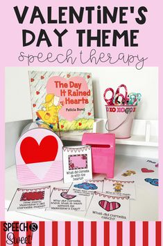 A Valentine's Day theme is super fun in speech-language therapy! This blog post reviews crafts, books, games, and resources for February! Great ideas for articulation, language, and stuttering!